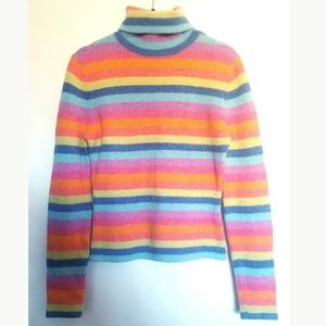 Girls Large Stripe Soft Rainbow Sweater Turtleneck